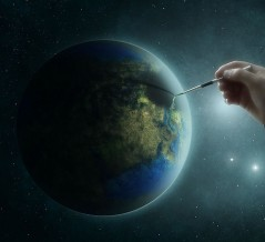 god pointing to earth